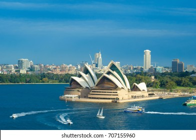 SYDNEY - August 15, 2017: Sydney Opera House, Sydney, Australia. The Sydney Opera House is a famous arts centre. It was designed by Danish architect Jorn Utzon, finally opening in 1973.