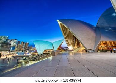 SYDNEY - AUGUST 17, 2018: Sydney Harbor skyline at night with Sydney Opera House light show, NSW, Australia