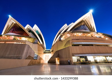SYDNEY - AUGUST 20, 2018: Amazing night view of Sydney Opera House. Sydney attracts 20 million tourists annually.