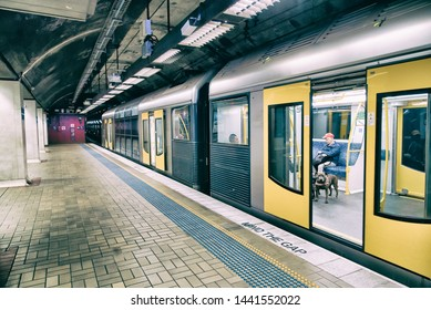 SYDNEY - AUGUST 20, 2018: Subway Train at a city station. Sydney attracts 20 million tourists annually.