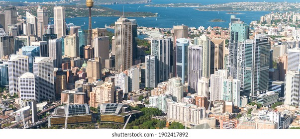SYDNEY AUS - NOVEMBER 10, 2015: Darling Harbour skyline aerial view. The city welcomes 10 million visitors every year
