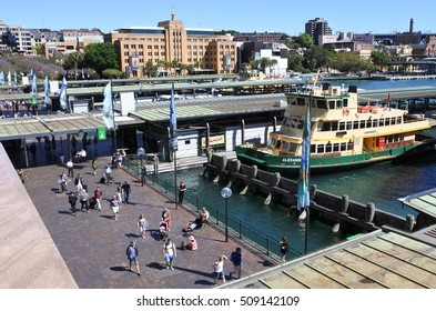 SYDNEY, AUS  - OCT 18 2016: Sydney Ferries at Circular Quay ferry wharf. Sydney Ferries is the public transport ferry network serving the Australian city of Sydney, New South Wales.