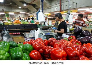 SYDNEY, AUS  - OCT 20 2016:People shopping in Sydney's Paddy's Markets, a very popular local and tourist attraction in Sydney New South Wales Australia