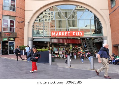 SYDNEY, AUS  - OCT 20 2016:Shoppers in Sydney's Paddy's Markets is a very popular local and tourist attraction in Sydney New South Wales Australia