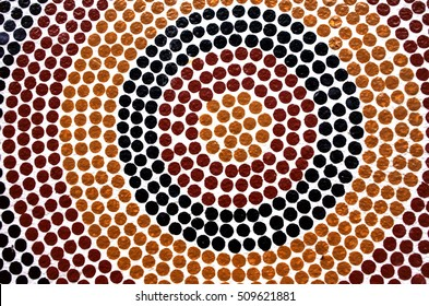 SYDNEY, AUS  - OCT 22 2016:Indigenous Australian art Dot painting. It's one of the oldest traditional form of art in the world. Paint marks to tell Aboriginal myths and legends