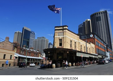 SYDNEY, AUS  - OCT 23 2016: Urban landscape of The Rocks. It is an urban locality, tourist precinct and historic area of Sydney's city centre, in the state of New South Wales, Australia.