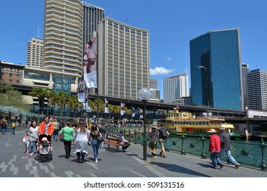 SYDNEY, AUS  - OCT 23 2016: Visitors at Sydney Circular Quay ferry wharf a major tourist attraction a transportation hub in Sydney Business District New South Wales, Australia