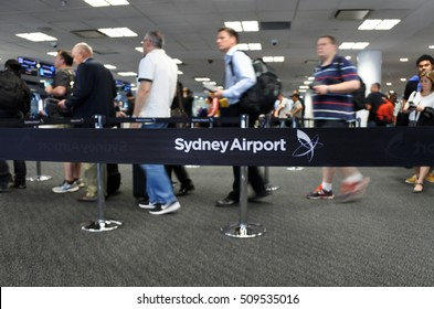 SYDNEY, AUS  - OCT 24 2016: Passengers at Sydney Airport Sydney, Australia. It is the busiest airport in Australia, handling 35,630,549 passengers in 2011 and 326,686 aircraft movements in 2013.