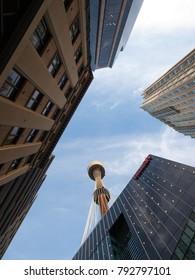 Sydney, Australia, 02/10/2013, sydney tower eye viewed between city buildings from the street