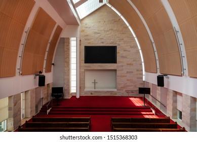 Sydney, Australia - 03 01 2019: Prayer hall at Hillsong Church at Baulkum Hills