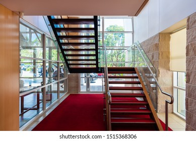 Sydney, Australia - 03 01 2019: Staircase at Hillsong Church at Baulkum Hills