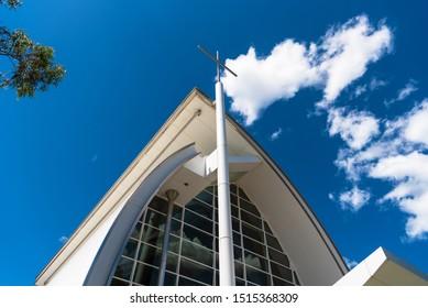 Sydney, Australia - 03 01 2019: Cross at Hillsong Church at Baulkum Hills