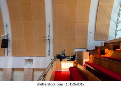 Sydney, Australia - 03 01 2019: Interior of Hillsong Church at Baulkum Hills