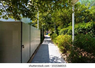 Sydney, Australia - 03 01 2019: Garden outside Hillsong Church at Baulkum Hills
