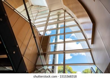 Sydney, Australia - 03 01 2019: Glass facade of Hillsong Church at Baulkum Hills