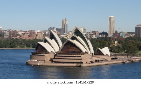 Sydney, Australia 05/18/2018 Aerial view of Sydney Opera House with cityscape and blue sky background in autumn