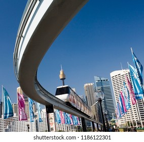Sydney. Australia. 05.19.06. The downtown Monorail system passing over Darling Harbor in Sydney, Australia.