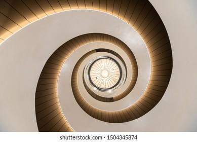 Sydney, Australia - 09 06 2019: Upward view of staircase inside Building 2 at University of Technology Sydney