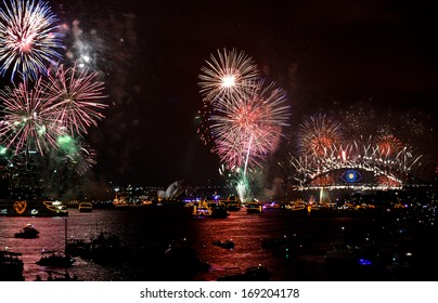 SYDNEY, AUSTRALIA - 1 JAN 2014 - New Year celebrations and fireworks in Sydney Harbour area
