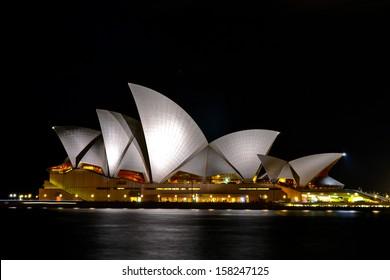 SYDNEY, AUSTRALIA - 1 JUNE 2013: The Sydney Opera House is being illuminated during night time