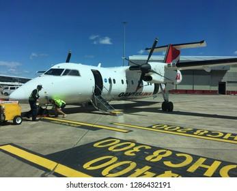 Sydney, Australia, 10th. April 2016. Small Qantas plane on the tarmac