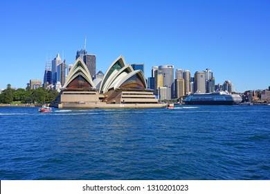 SYDNEY, AUSTRALIA -13 JUL 2018- View of the iconic Sydney opera house in the Sydney Harbor.