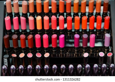SYDNEY, AUSTRALIA -13 JUL 2018- View of a colorful cosmetics display by American make-up brand MAC.