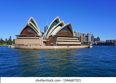 SYDNEY, AUSTRALIA -14 JUL 2018- View of the iconic Sydney opera house in the Sydney Harbor.