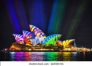 Sydney, Australia - 14 June 2017: Sea monster and colourful image projected on side of Sydney Opera house during Vivid Sydney light show festival.