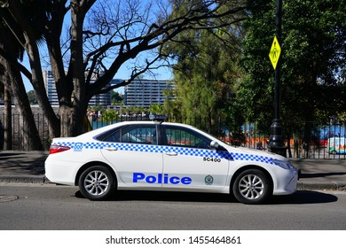 SYDNEY, AUSTRALIA -15 JUL 2018- View of a police car on the street in the Rocks in Sydney, New South Wales, Australia.