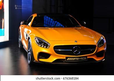 SYDNEY / AUSTRALIA - 16 April 2015: Mercedes Benz AMG car stands in the hall of Carriageworks building Sydney on 16 April 2015
