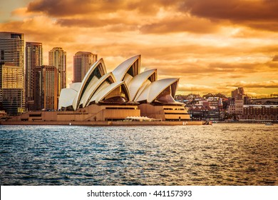 SYDNEY AUSTRALIA - 16 JUNE, 2013 : Opera House view with beautiful sky from ferry in evening on 16 June, 2013 in Sydney, Australia.