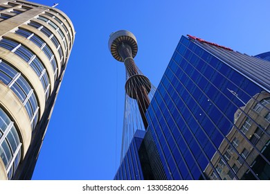 SYDNEY, AUSTRALIA -17 JUL 2018- View of the landmark Sydney Tower (Sydney Tower Eye or Westfield Centrepoint), a tall observation tower located in the Central Business District (CBD) in Sydney.