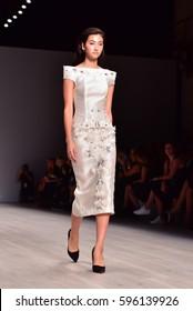 SYDNEY / AUSTRALIA - 17 May: Model walks runway catwalk during Steven Khalil fashion show at Mercedes Benz Fashion Week Australia on 17 May 2016 in Carriageworks Sydney