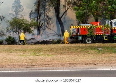 Sydney, Australia - 17 October 2020: hazard reduction burns underway before summer bushfire season
