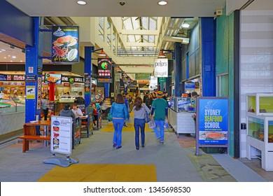 SYDNEY, AUSTRALIA -18 JUL 2018- View of the Sydney Fish Market, located on Blackwattle Bay in Pyrmont, Sydney, New South Wales, Australia.