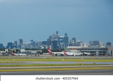 Sydney Australia 18 March 2016 Sydney Airport with the Sydney CBD in background