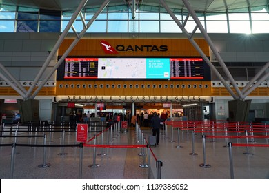 SYDNEY, AUSTRALIA -20 JUL 2018- The domestic terminal (T3) at the Sydney Kingsford Smith airport (SYD), which serves as a hub for national flag carrier Qantas (QF).