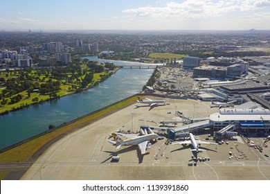 SYDNEY, AUSTRALIA -20 JUL 2018- Aerial view of the Sydney Kingsford Smith airport (SYD), which serves as a hub for national flag carrier Qantas (QF).