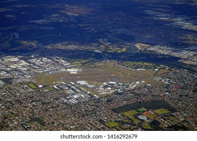 SYDNEY, AUSTRALIA -20 JUL 2018- Aerial view of the Sydney Kingsford Smith airport (SYD), which serves as a hub for national flag carrier Qantas (QF)