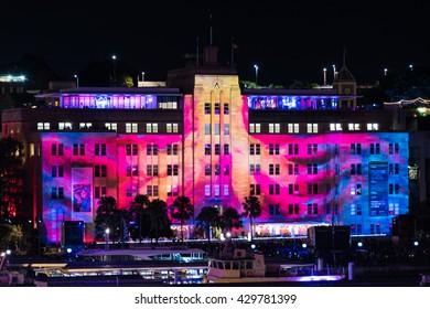 Sydney, Australia - 2016, May 27: Museum of Contemporary art building illumination as part of annual outdoor lighting festival Vivid Sydney: Festival of Light, Music and Ideas