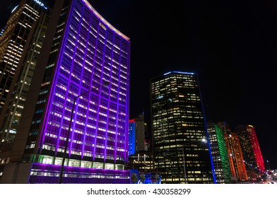 Sydney, Australia - 2016, May 27: Illumination of skyscrapers of Sydney Central Business District, CBD, downtown on outdoor lighting festival Vivid Sydney: Festival of Light, Music and Ideas