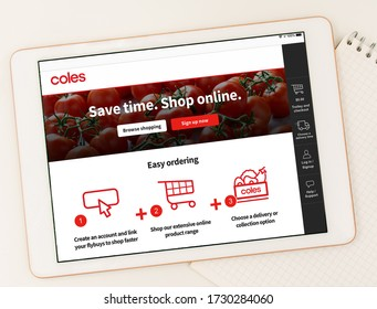 Sydney, Australia 2020-05-07 Coles supermarket announced online shopping is available to everybody once again. White tablet browsing Coles website