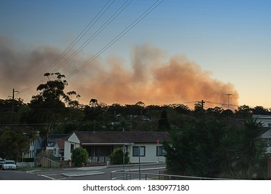 Sydney, Australia. 2020-10-10 Smoke from Royal National Park bushfire. The blaze started when hazard reduction burning caused a spot fire which got out of control