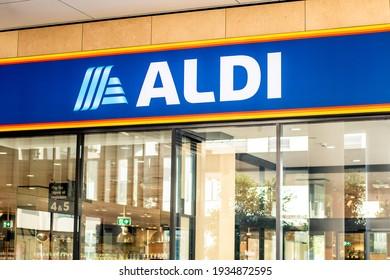 Sydney, Australia - 2021-03-01. Exterior view of Aldi supermarket with logo