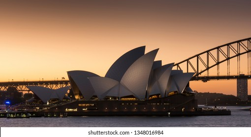 Sydney, Australia - 23 Feb 2016: Sydney opera house at sunset