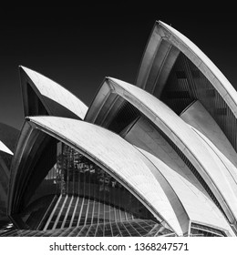 Sydney, Australia - 24 Jan 2019: Roof detail of the Sydney opera house in black and white