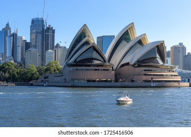 Sydney, Australia - 24 March, 2020; Front view of Sydney Opera house, an iconic landmark in New South Wales Australia.