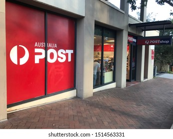 Sydney / Australia - 25-09-2019: Australia Post Office street view with advertisement and sign