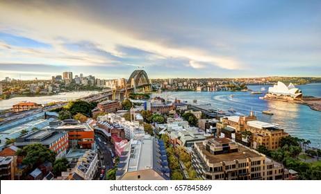 SYDNEY, AUSTRALIA, 26 APRIL 2017 - HDR Image - Sydney  harbour bridge and opera house. Iconic and world famous landmarks of Australia